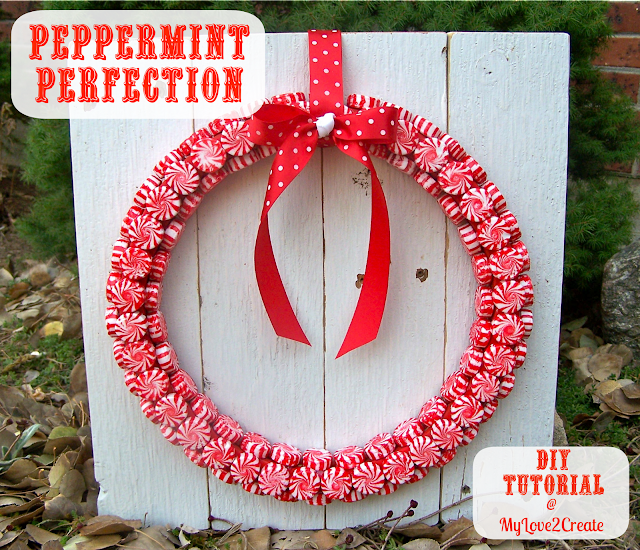 Easy DIY Peppermint Wreath, tutorial at MyLove2Create