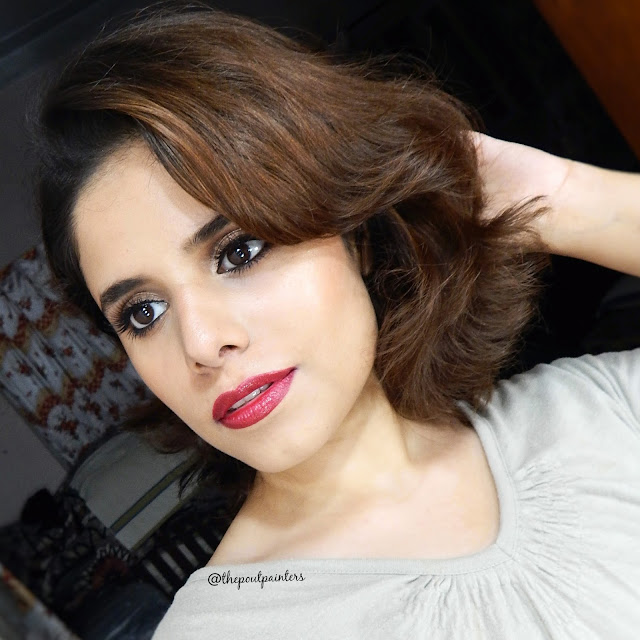 Red Lips Glowy Skin Makeup Look