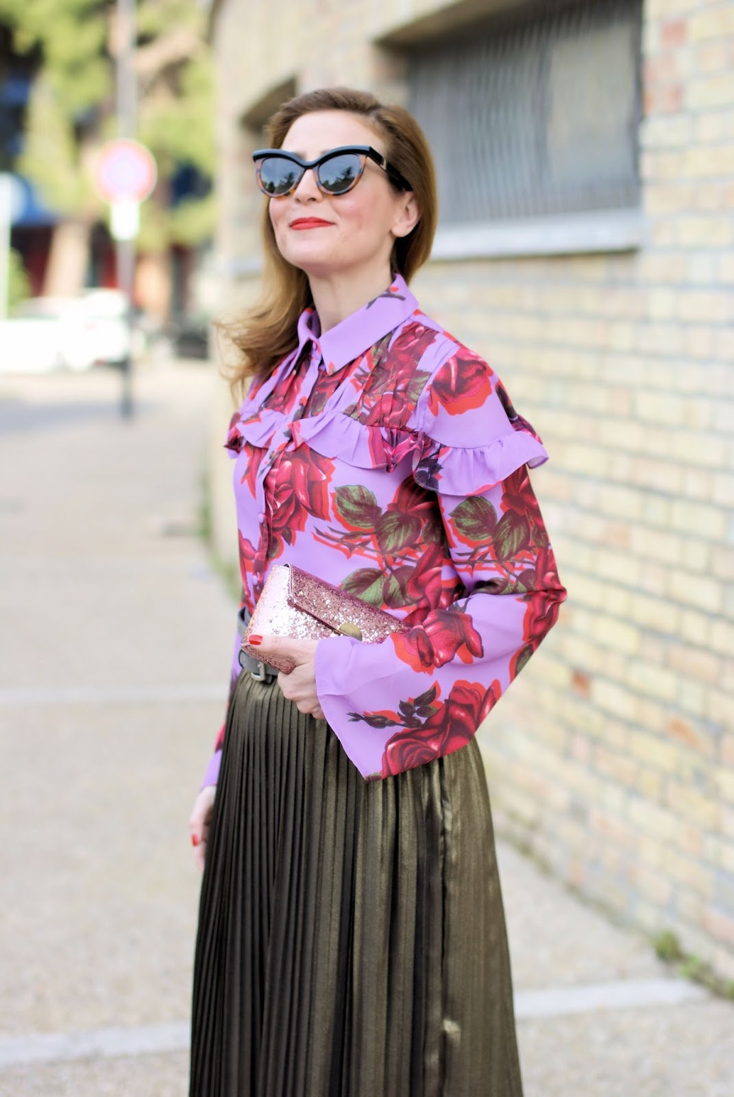 Lost Ink floral frill shirt for a Spring daytime outfit on Fashion and Cookies fashion blog, fashion blogger style