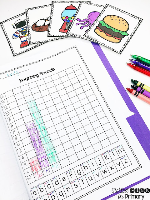 Kindergarten data folders which include checklists, graphs to keep track of student progress, and flashcards for assessing Kindergarten skills. #beginningsounds #kindergarten #checklist #assessment #testing