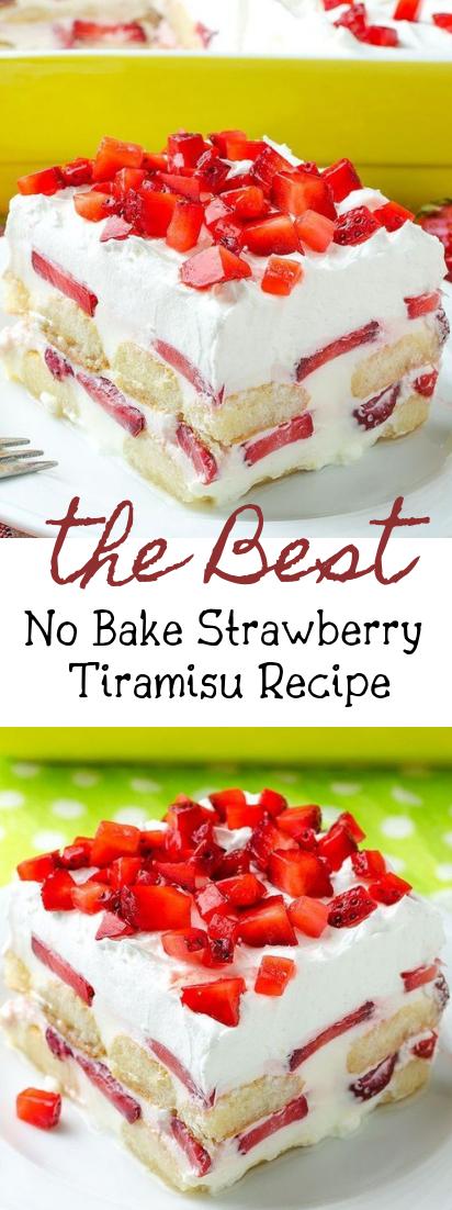 No Bake Strawberry Tiramisu Recipe #desserts #cakerecipe #chocolate