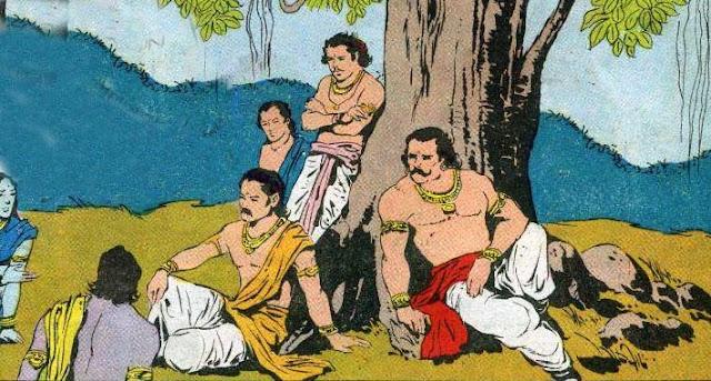 Pandavas under a large banyan tree