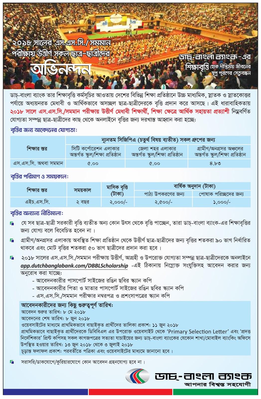 Dutch Bangla Bank Limited (DBBL) SSC Scholarship Circular 2018