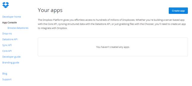 Dropbox App console
