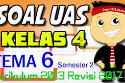 SOAL UAS KELAS 4 Semester 2 TEMA 6 K13/Kurikulum 2013 Revisi 2017