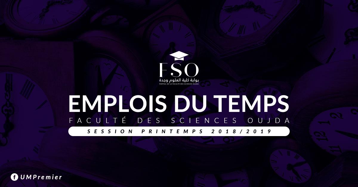 AVIS : Emplois du Temps du Cours - Session Printemps 2018/2019