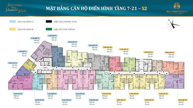 Mặt bằng tầng 7 - 21 - tháp S1 Sun Grand City