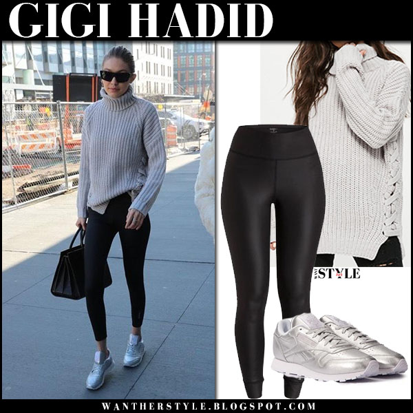 Gigi Hadid in grey knit sweater missguided, black leggings and silver sneakers reebok street style january 15