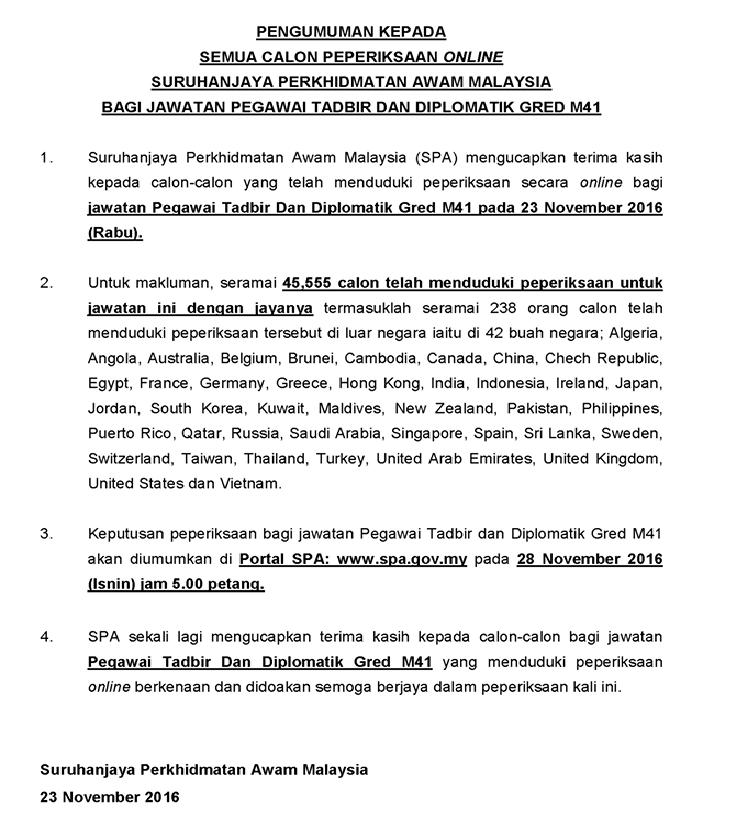 Keputusan PTD Pegawai Tadbir Dan Diplomatik m41
