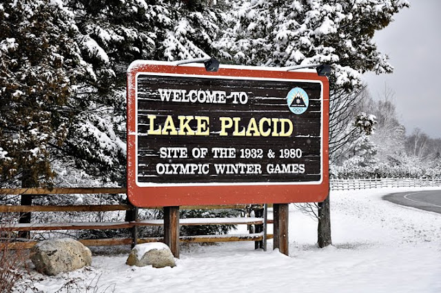 Eclectic Red Barn: Lake Placid Sign with all the snow