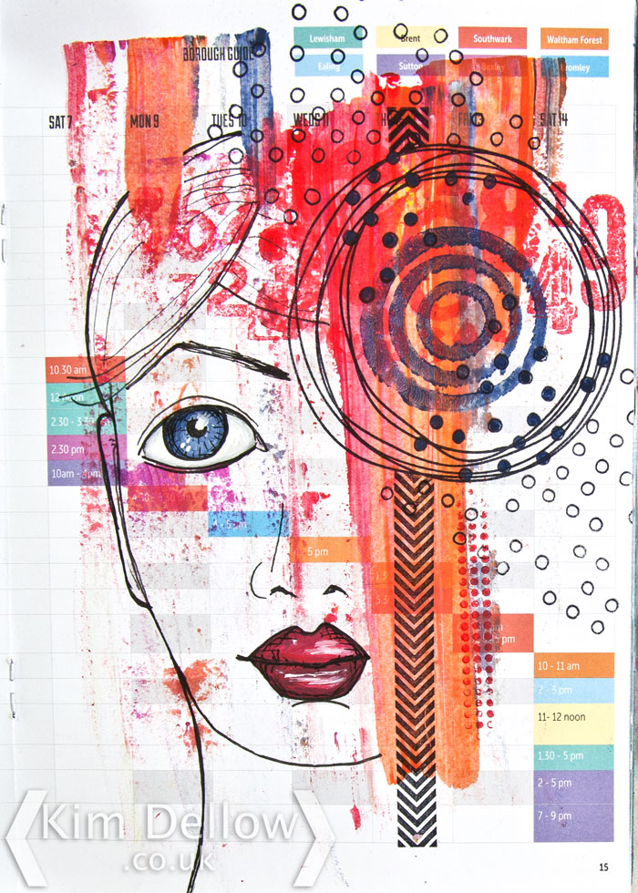 Show Your Face geometric art journal page