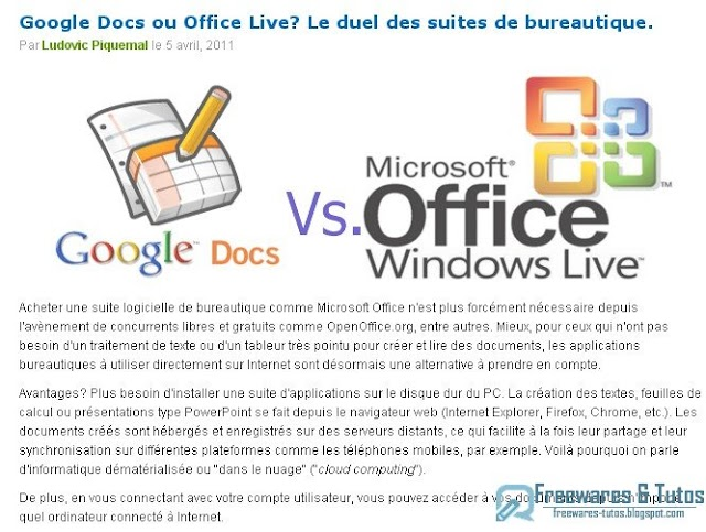 Le site du jour : comparatif Google Docs vs Office Live