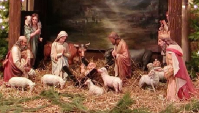 Nativity scene or crib decoration for christmas season