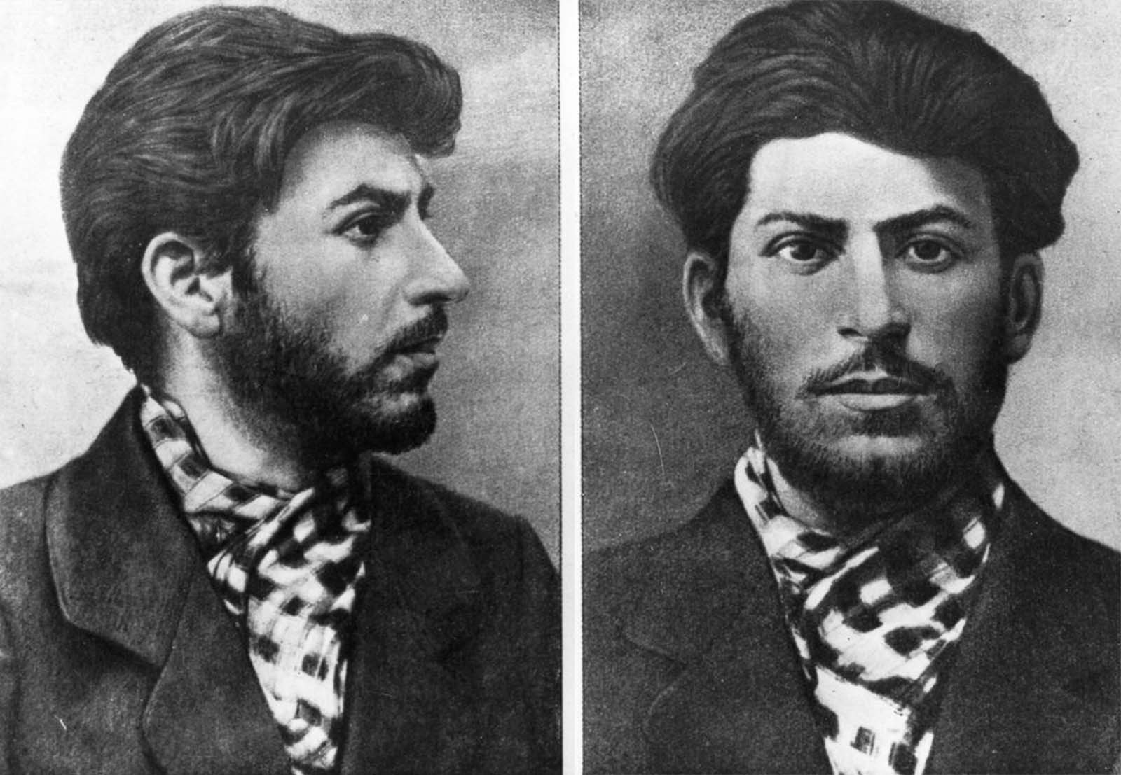 A mugshot of 23-year-old Stalin from a police file. 1901.