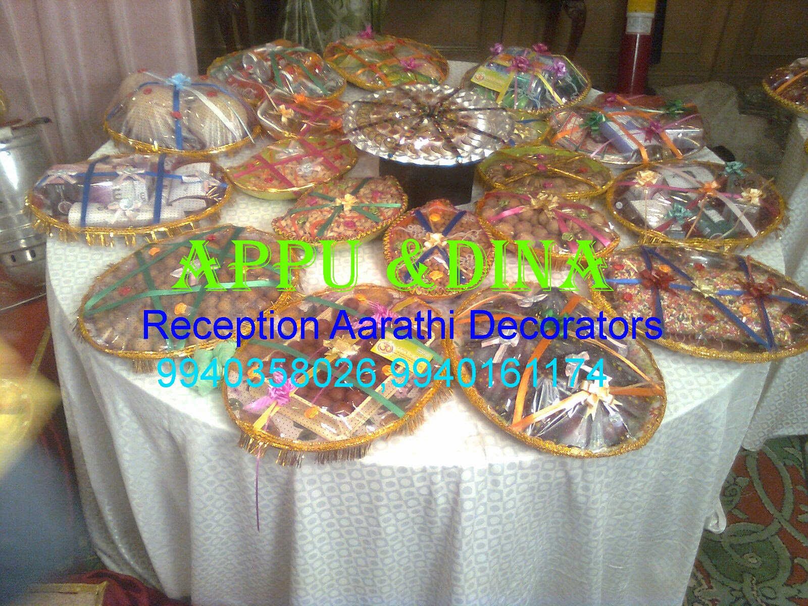 Ph no 9790918251 9940358026 for Aarathi plates decoration