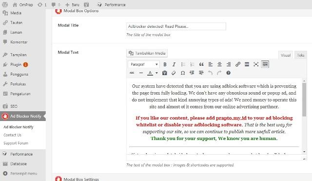 Menu Pengaturan pada Dashboard Admin WordPress