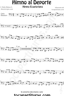 Partitura del Himno al Deporte de Ecuador para Violonchelo y Fagot Himno Ecuatoriano Sheet Music for Cello and Bassoon Music Scores
