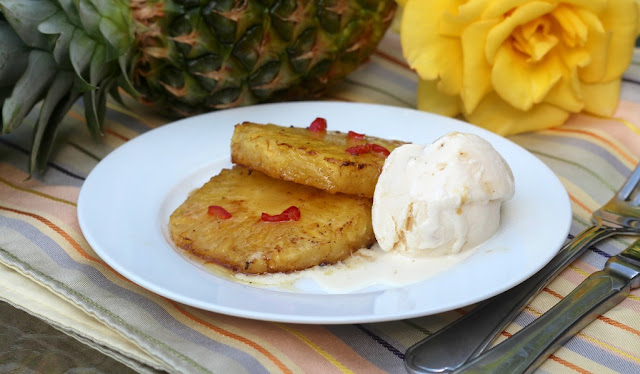 chilli pineapple and vanilla ice cream