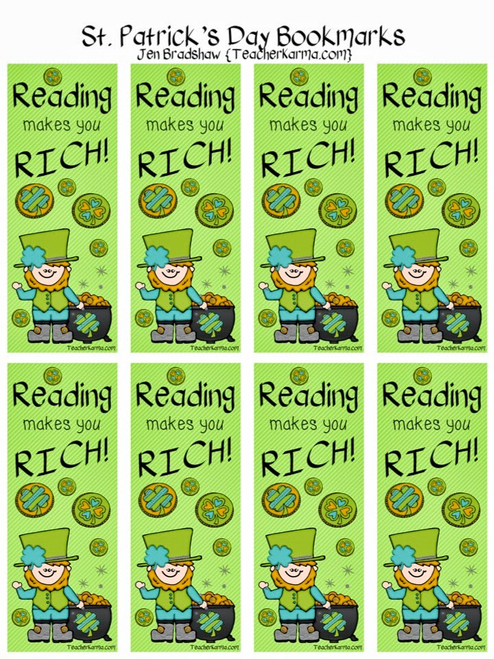 FREE St. Patrick's Day bookmarks.  TeacherKarma.com
