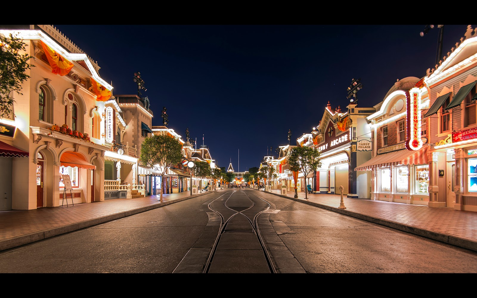 A Midnight Main Street In The Fall