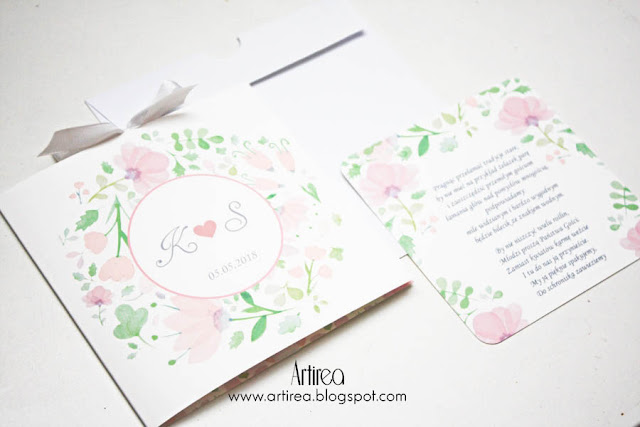 pudrowo-rozowe wiosenne delikatne eteryczne zaproszenia slubne artirea oryginalne