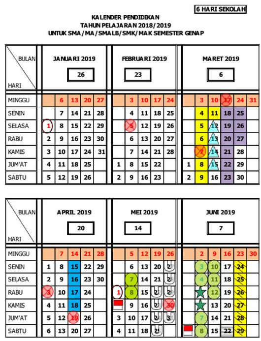 Kalender Pendidikan 2018/ 2019 Jawa Tengah Genap SMA/MA/SMALB/SMK/MAK SEMESTER