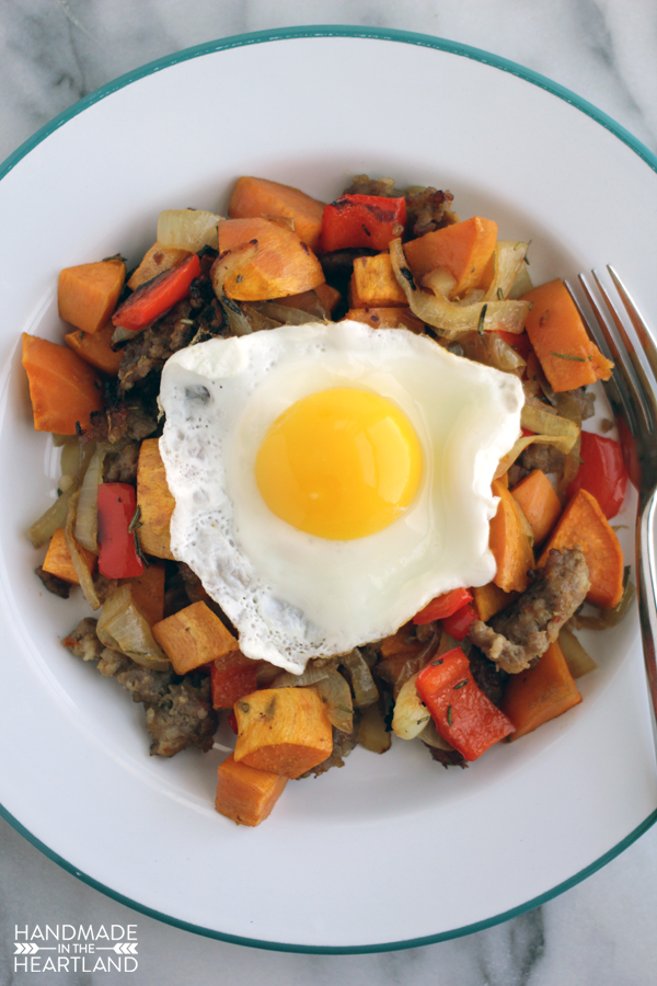 With crunchy sausage, red pepper, onion and sweet potato this recipe has wide appeal.