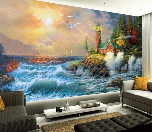 naturtapet hav vågor fyr fototapet landskap målning 3d fondtapet vardagsrum
