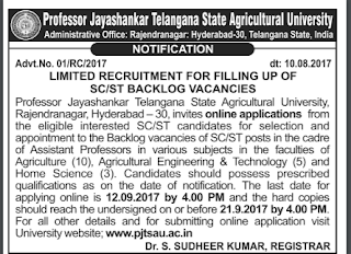 Professor Jayashankar Telangana State Agricultural University Recruitment 2017 | Question Papers
