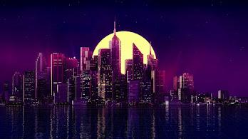 City, Buildings, Digital Art, Night, Cityscape, Skyscraper, Minimalist, 8K, #5