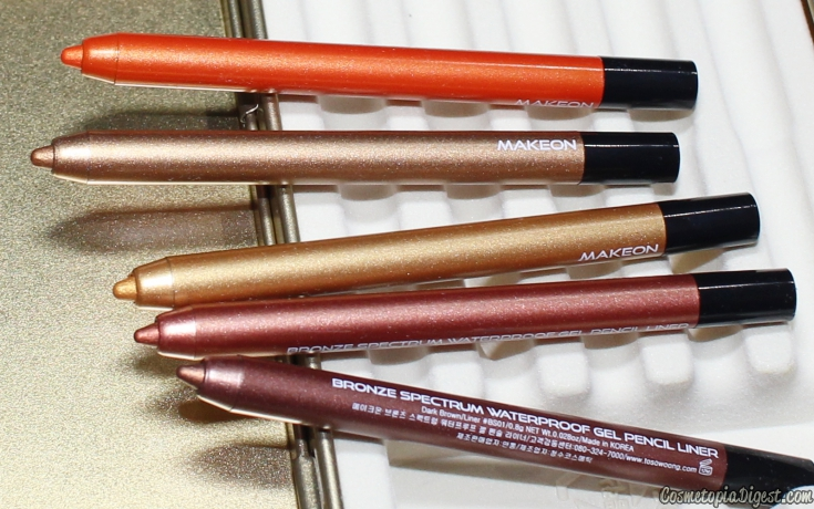 Review, swatches and eye makeup looks of Tosowoong Makeon Princess Limited Edition Bronze Spectrum Waterproof Gel Liners Season III.