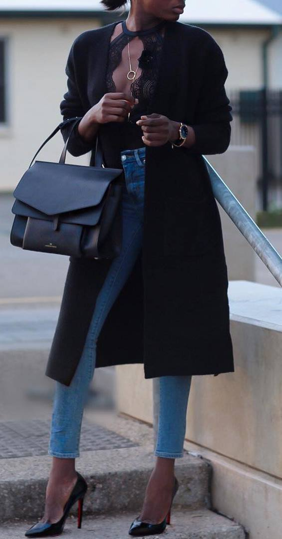 fashionable outfit idea : bag + top + cashmere coat + skinny jeans + heels