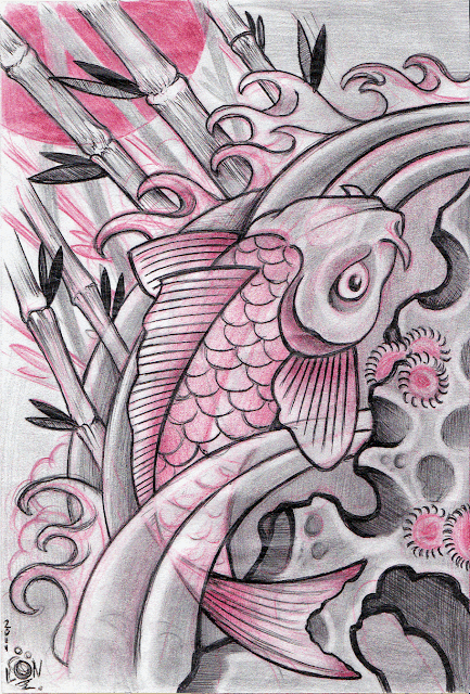 Koi Fish Black and Red
