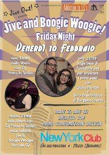 Serata Jive e Boogie Woogie venerdì 10 febbraio al New York Club di Mozzo (Bergamo) con stage rockabilly base