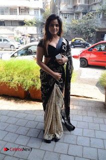 Actress Neetu Chandra Stills in Black Saree at Designer Sandhya Singh's Store Launch  0056.jpg