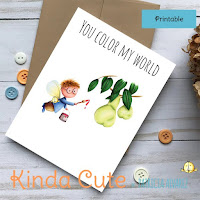 Fairy painting pears printable card. You color my world card.