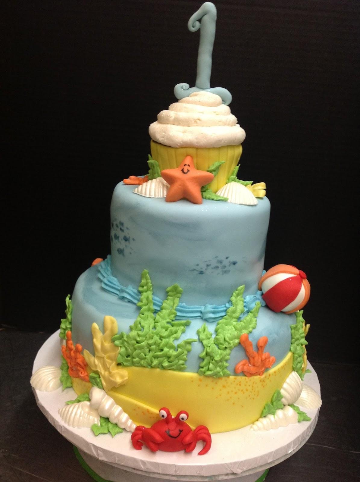 Plumeria Cake Studio Beach Themed First Birthday Cake