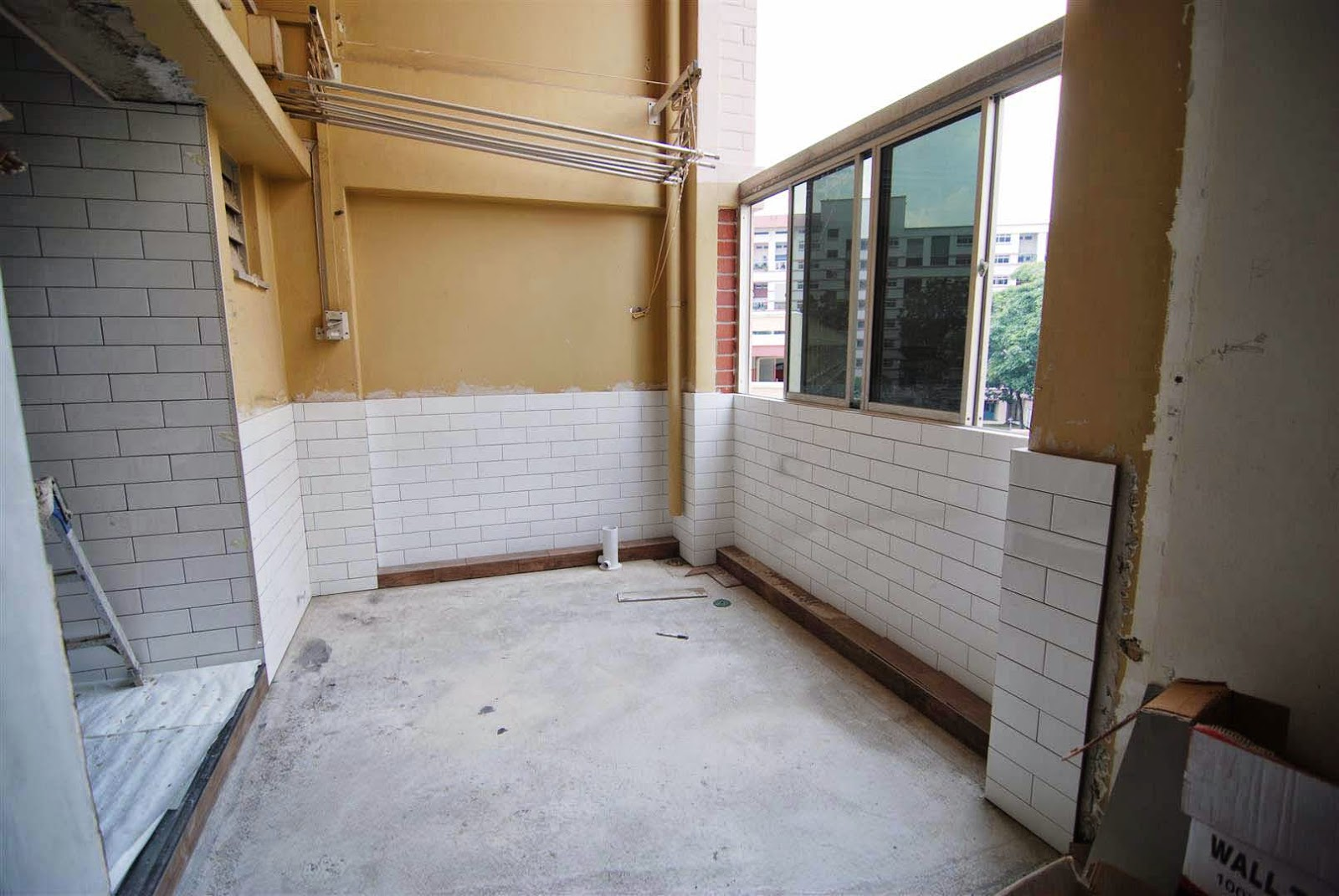 Butterpaperstudio reno cck maisonette tiling in progress for Balcony wall tiles