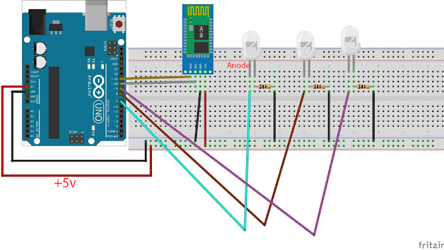 Arduino UNO based project to control LEDs by using an android smartphone