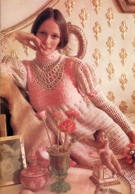 The Vintage Pattern Files: 1970s Free Crochet Pattern - Juliet Midi Dress