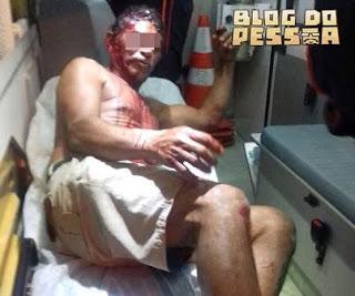 O vigilante 'Chiquinho' teve os primeiros socorros realizado pelo SAMU. Foto: Blog do Pessoa