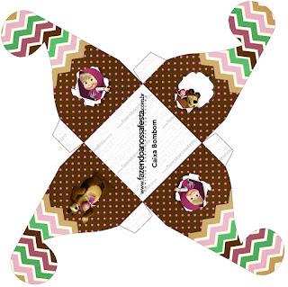 Caja para cupcakes, chocolates o golosinas de Masha y el Oso.