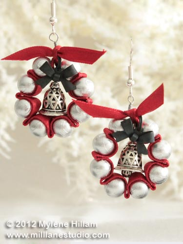 Wreath earrings made of red satin ribbon woven with silver glass pearls.