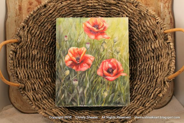 Photographing poppies artwork for online listings art studio photography booth Christy Sheeler artist