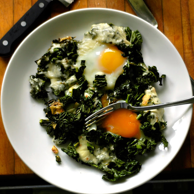 Simple Stovetop Eggs with Cheese and Kale