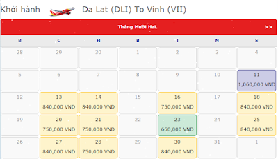 Giá vé máy bay Đà Lạt đi Vinh