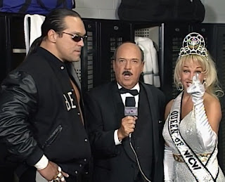WCW Halloween Havoc 1997 - Debra and Steve McMichael argue backstage with Mean Gene