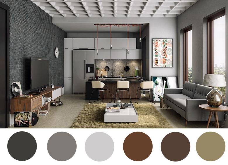 szarość i drewno - połączenie kolorów