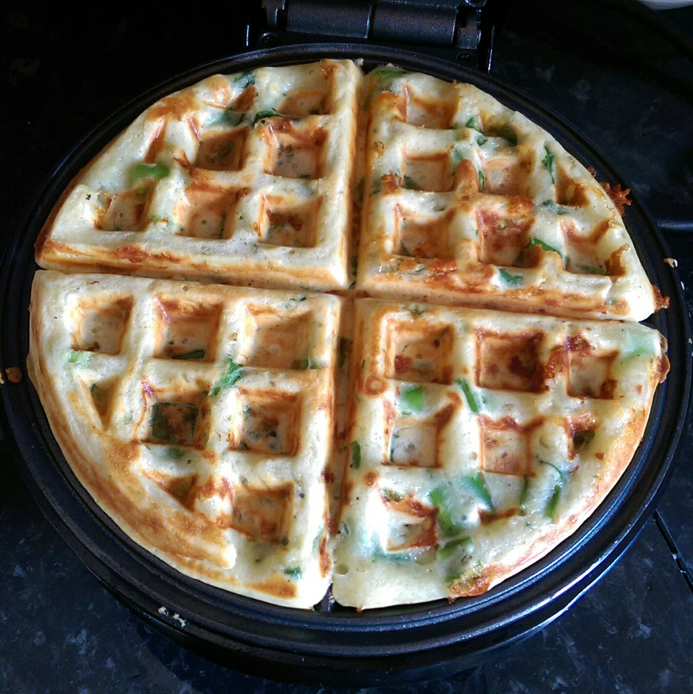 savoury waffles, cheese and onion waffles, brunch, recipes