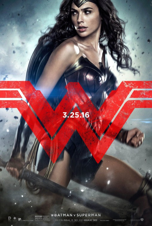 Batman v Superman Dawn of Justice Wonder Woman movie poster